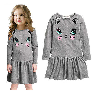 Kids Cartoon Cat Printed Dress Very Cute 1-6Y