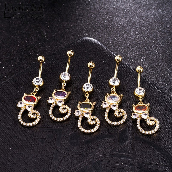 CZ Sleek Kitten and Flower Style Belly Ring Bar Navel Peircing Bar
