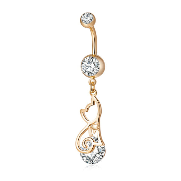 Crystal Bellly Button Ring Gold Color CZ Piercing Jewelry
