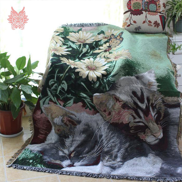 Sofa Cover Blanket Beautiful Cat Design