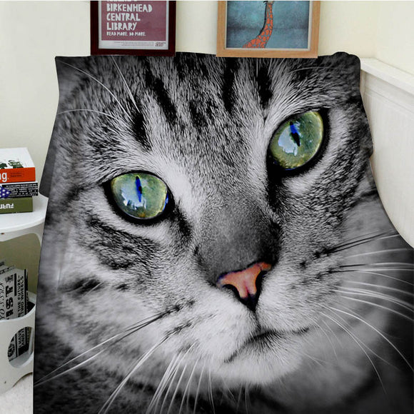 Comfortable Soft Plush Easy Care Machine Wash Funny Cute Cat Kitten Blue Eye Animal Warm Throw Blanket For Sofa Bed