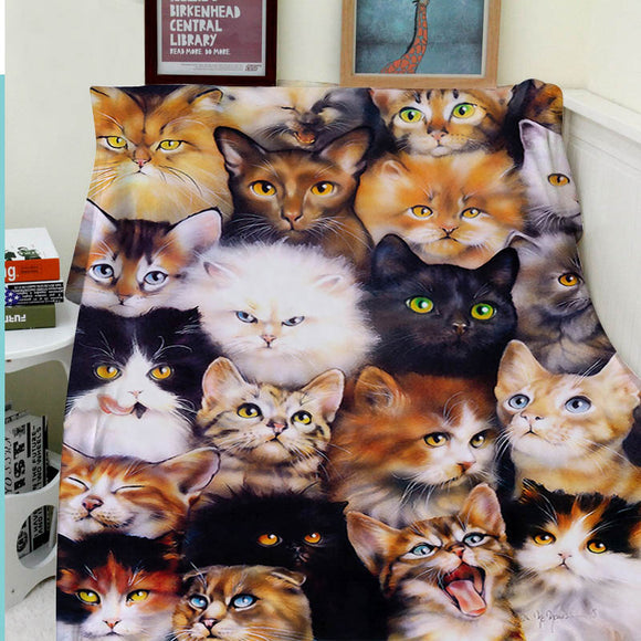 Blanket- Comfortable Warm Soft with Cozy Kitten Design