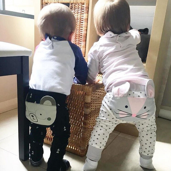 Cartoon Print Kids High Waist Pants