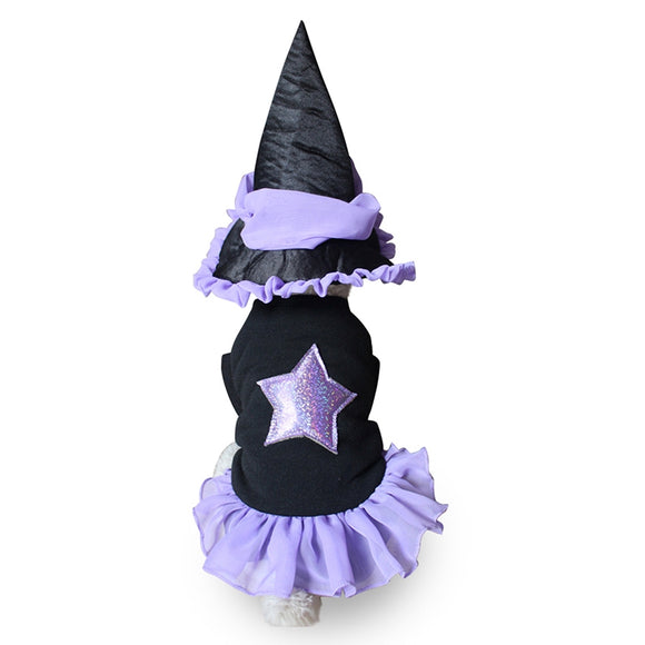 Lovely Halloween Pet Costume Pet Dog Clothes Festival Fancy Dress Dog Cat Witch Suit Coat & Hat Set