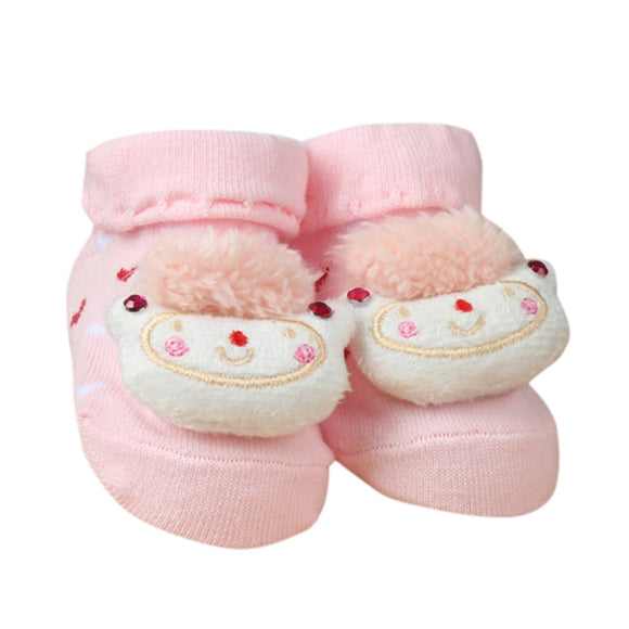 Pink Animal Print Baby Slipper Socks