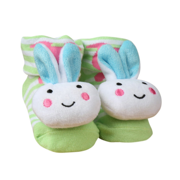 Cartoon Bunny Print Slipper Socks For Babies Toddlers