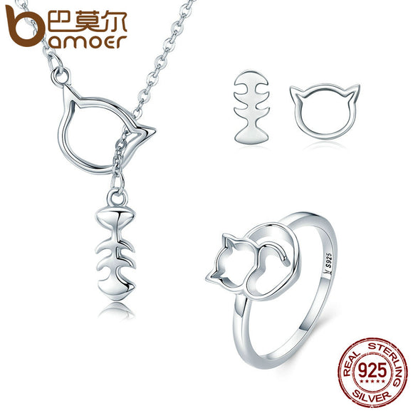 925 Genuine Sterling Silver Naughty Cat Set