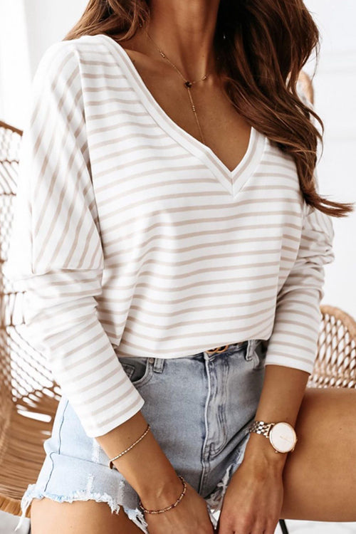 Look At Me Cream Striped Long Sleeve Top
