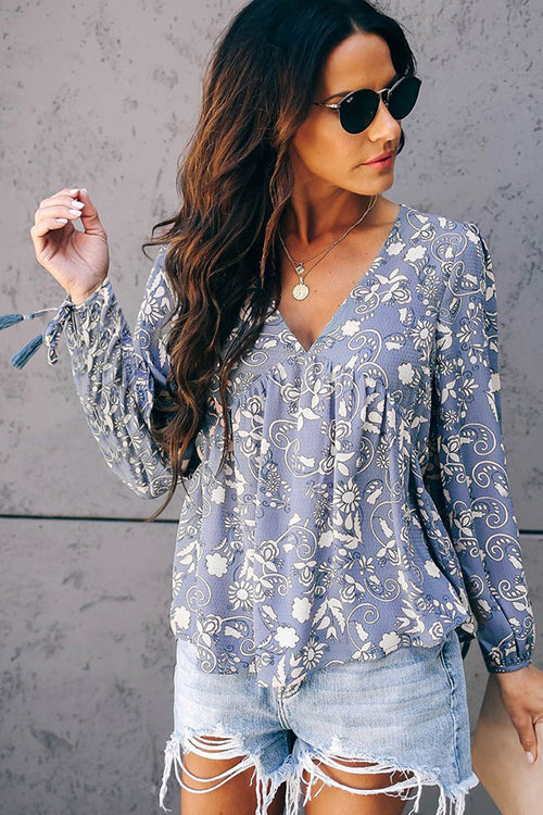 Petite Petals Floral Print Long Sleeve Shirt - 2 Colors