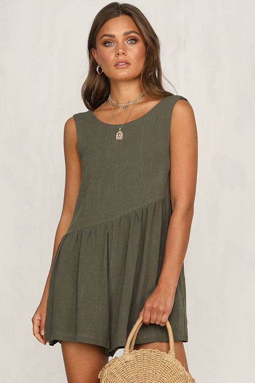 Always Thriving V-back Casual Tank Romper - 4 Colors