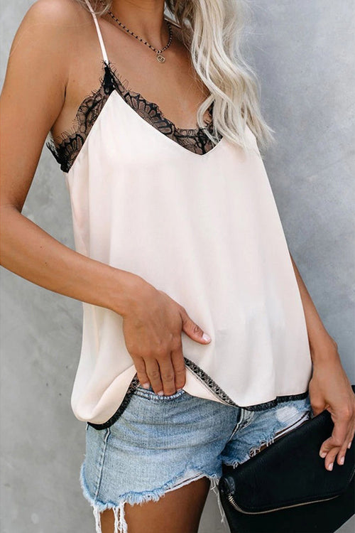 Stay Sweet Lace Spaghetti Cami Top - 3 Colors