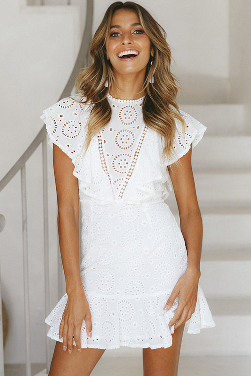 Angelisa White Hollow-Out Lace Mini Dress