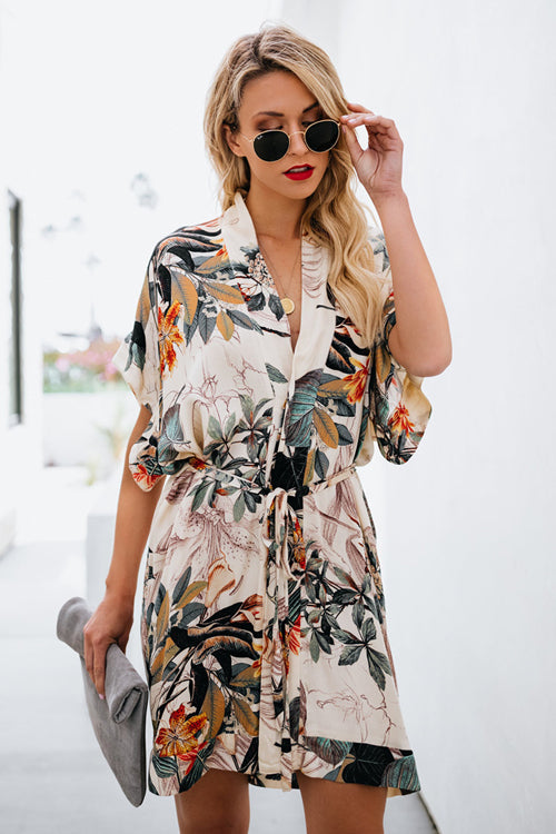 Deeply Cherished Floral Print Wrap Mini Dress - 2 Colors