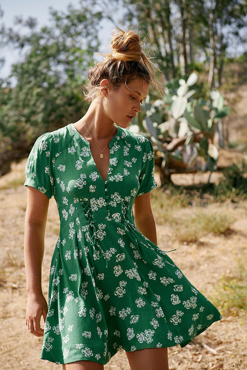 Give a Glam Green Print Fit&Flare Dress