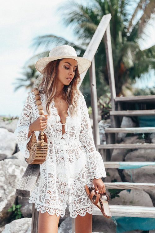 Summer Vibe Lace Hollow-Out Beach Blouse
