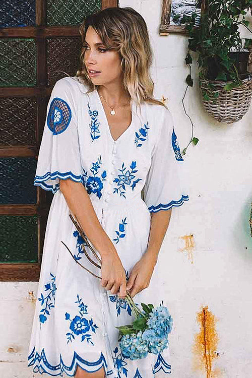 8576a2b799d Golden Hour White and Blue Embroidered Dress – Beetsweeti