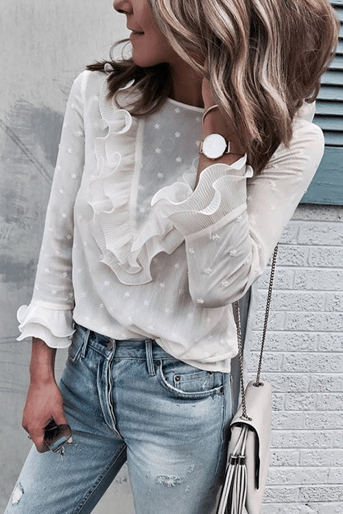 Honey Punch Ruffle Up Dot Chiffon Shirt