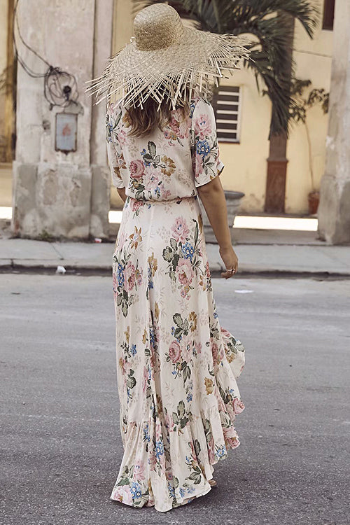 Road Trip Floral Print High&Low Maxi Dress