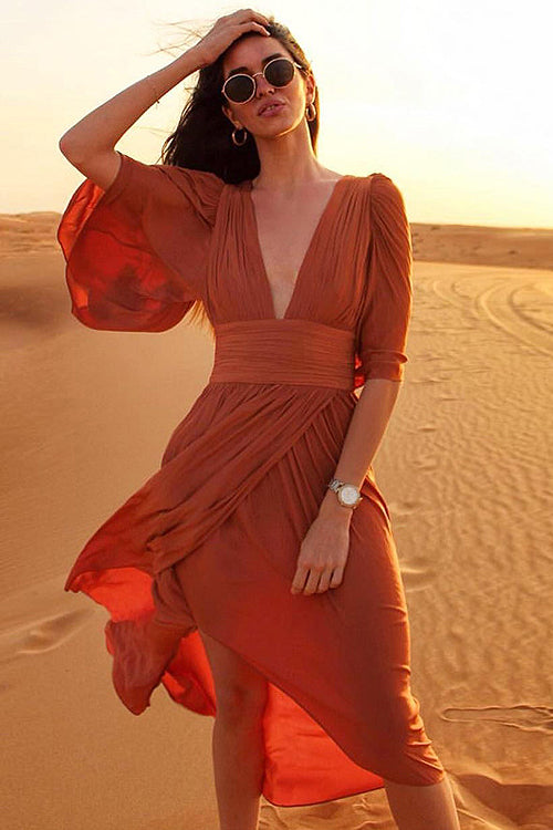 Enjoy the Sunset V-neck Maxi Dress
