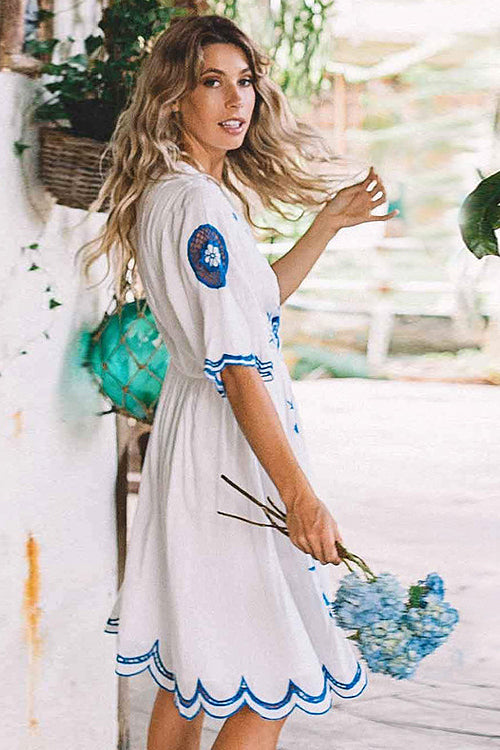 Golden Hour White and Blue Embroidered Dress