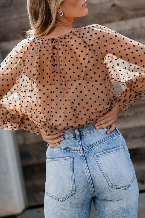 All Dotted Up Long Sleeve Tulle Two-Piece Top