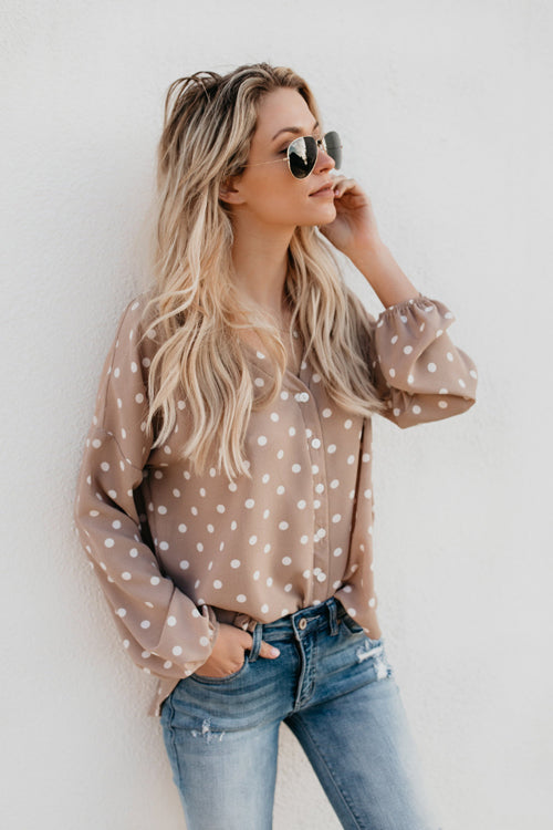 Punch Style Dot Print V-neck Shirt