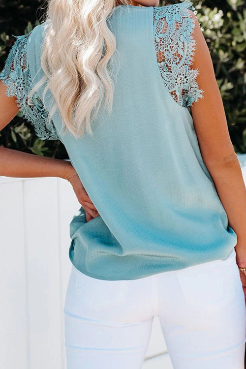 Sunny Story Lace Sleeves V-Neck Top - 4 Colors
