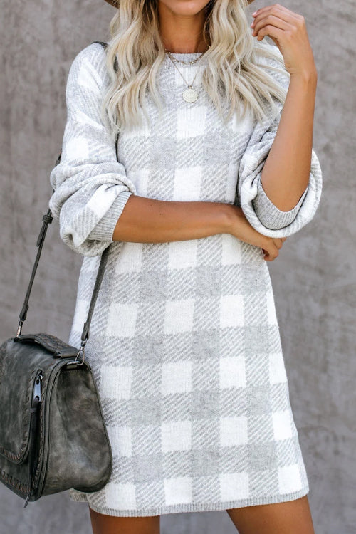 All at Once Gingham Sweater Dress - 2 Colors