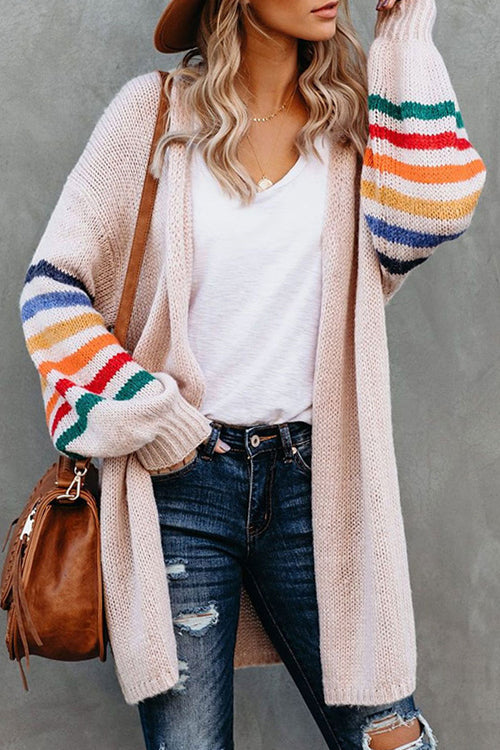 Going For Cozy Rainbow Striped Cardigan - 3 Colors