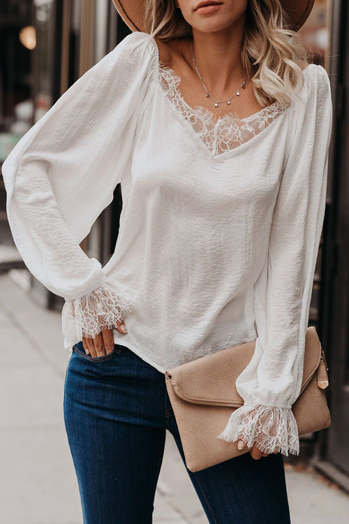 Love Light Lace V-Neck Balloon Sleeve Top - 2 Colors