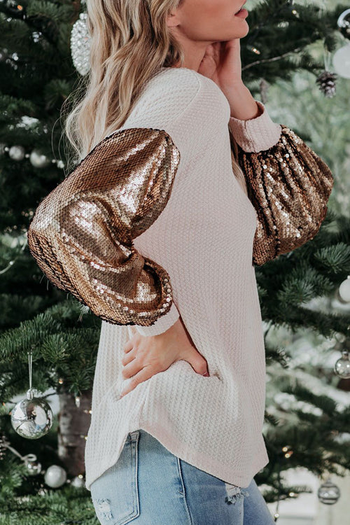 Completely Into You Sequin Sleeve Knit Top - 2 Colors