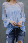 Picture This Tulle&Lace Long Sleeve Top - 5 Colors
