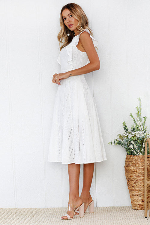 Butterfly Ruffle Sleeve Lace Midi Dress - 2 Colors