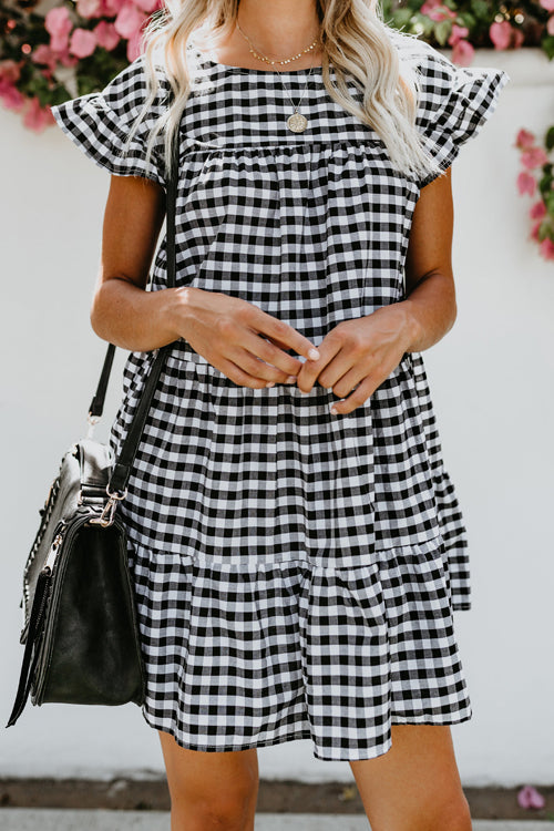 Hometown Girl Gingham A-line Mini Dress - 2 Colors