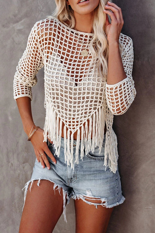 Bonjour To You Hollow-Out Tassel Top - 2 Colors
