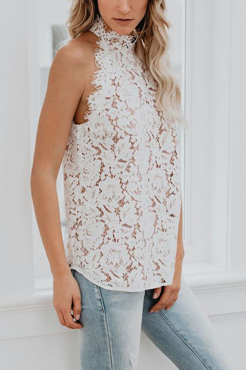 Beautiful in Lace Halter Neck Top - 4 Colors