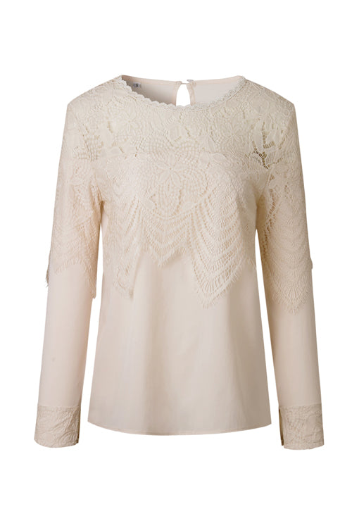 Lover's Night Lace Embroidery Long Sleeve Top - 2 Colors