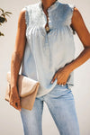 Take Your Time Pleated Ruffle Sleeveless Top - 4 Colors