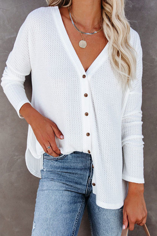 Loving The Cozy Life Button-Up Knit Top - 4 Colors