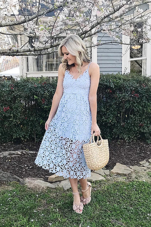 Lace Hollow-out Midi Dress