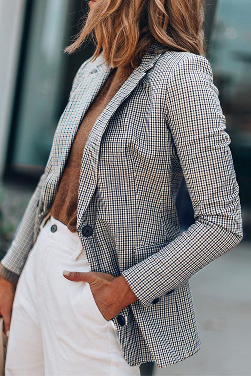 Timeless Sophistication Grey Plaid Double Breasted Blazer