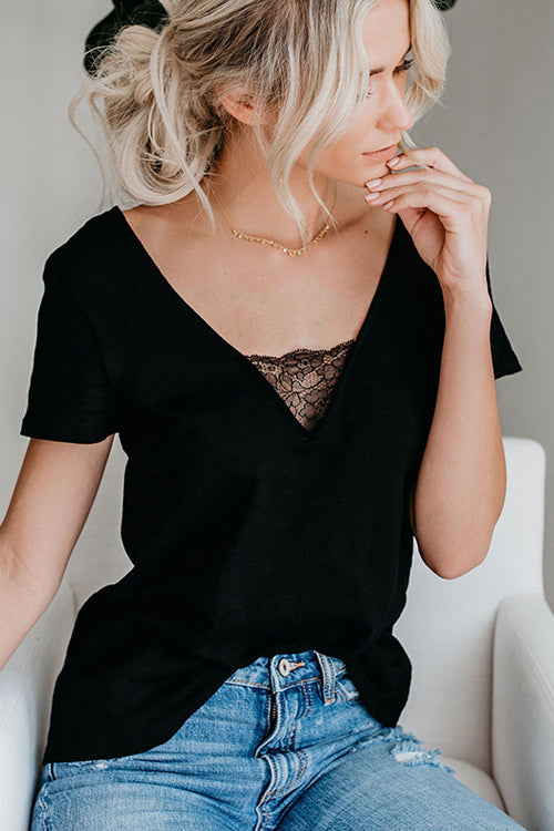Filled with Surprises Lace V-neck Tee - 2 Colors