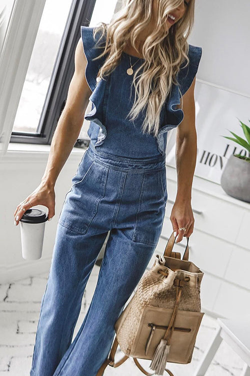 Off on an Adventure Denim Backless Jumpsuit