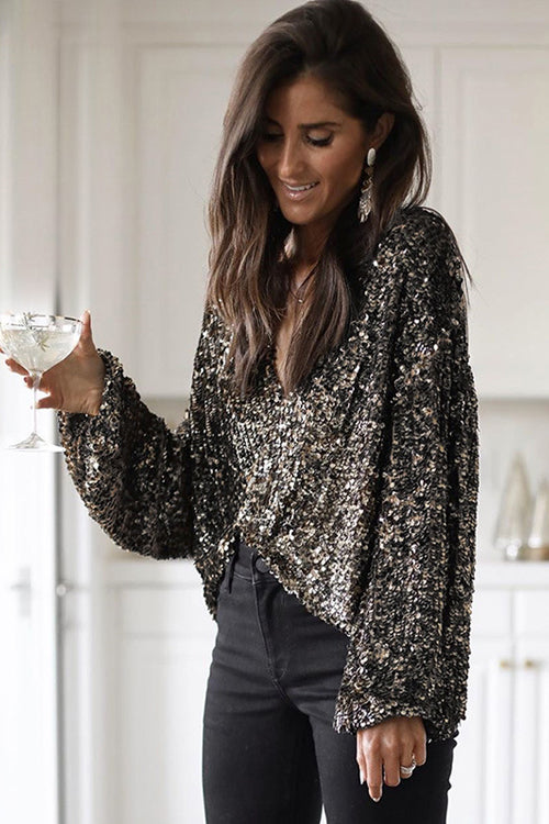 Starting the Party Sequin V-Neck Top