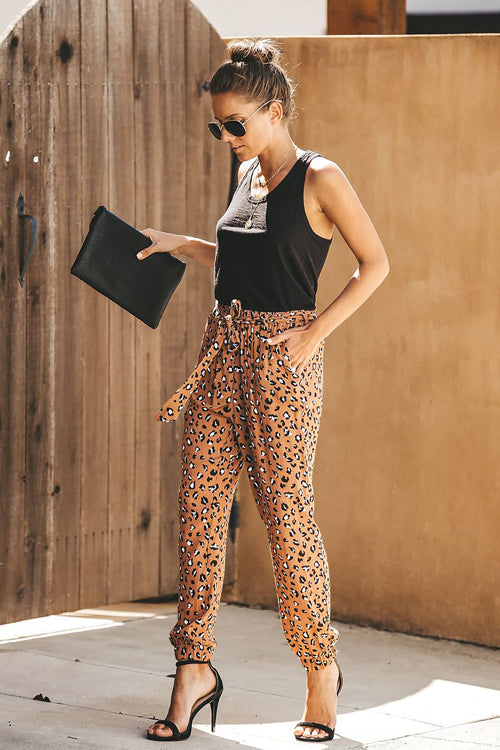 Wildcat Leopard Print Tie-Front Pants - 4 Colors