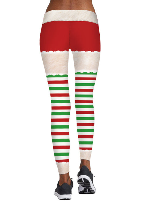 Christmas Stripe Print Sports Pants