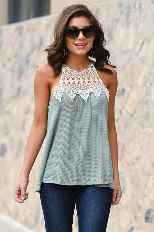 Beyond Me Lace Halter Neck Tank Top