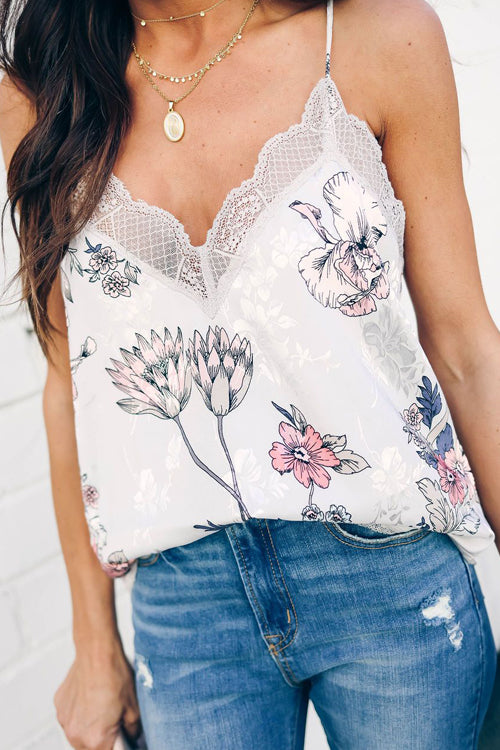 Feel Like Dancing Printed Lace Up Cami Top - 5 Colors