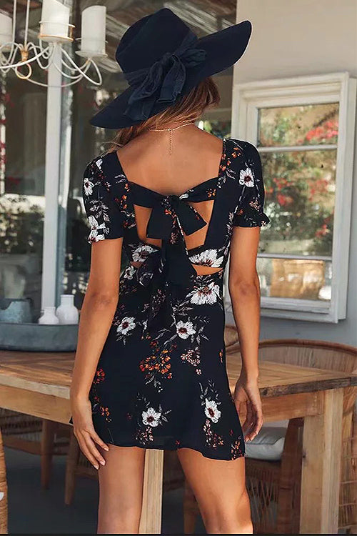 Morning Light Navy Floral Print Backless Mini Dress