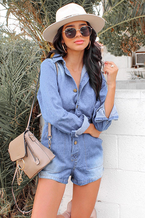 Call For Me Long Sleeve Denim Romper